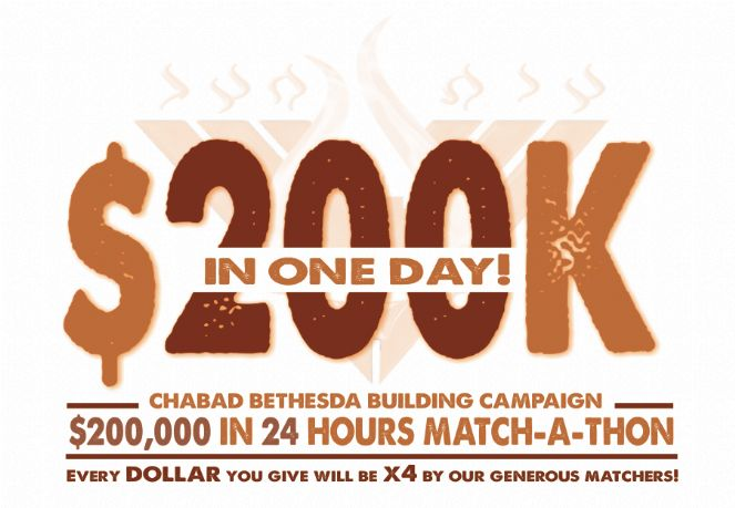 $200K In A Day! Chabad Bethesda Building Campaign Match-A-Thon!